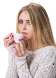 Beautiful girl enjoying coffee Stock Photos
