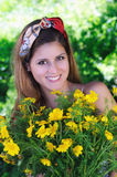Beautiful girl enjoying daisy Royalty Free Stock Photo