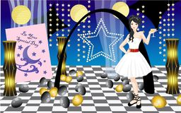 Beautiful Girl Enjoying her Sweet Seventeen Party Vector Illustration. For any purpose such as greeting card, invitation, book cover and illustration, social Royalty Free Illustration