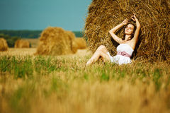 Beautiful girl enjoying the nature Stock Images