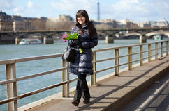 Beautiful girl enjoying nice spring day in Paris Stock Image