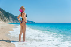 Beautiful Girl Enjoying Sun and Sea Royalty Free Stock Image
