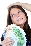 The beautiful girl with euro banknotes Stock Photography
