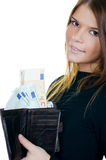 The beautiful girl with euro banknotes Stock Photo