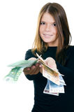 The beautiful girl with euro banknotes Stock Images