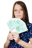 The beautiful girl with euro banknotes Royalty Free Stock Images