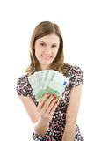 Beautiful girl with euros. Royalty Free Stock Image