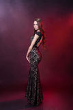 Beautiful girl in an evening dress Stock Photos