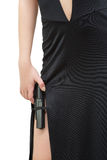 Beautiful girl in evening dress holding gun Royalty Free Stock Photos