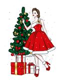 Beautiful girl in evening dress. New Year and Christmas, Christmas tree and gifts. Vector illustration for a postcard or a poster. Beautiful girl in evening stock illustration