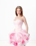 Beautiful girl in evening gown smiling Stock Images