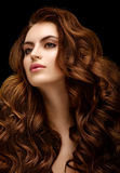 Beautiful girl with evening make-up and smooth hair combed. Beautiful redhead girl with evening make-up and long wavy shiny hair. Fashion photo. Beauty portrait stock images