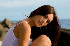 Beautiful girl in evening sunlight Stock Photography