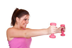 Beautiful girl exercising with weights Stock Image