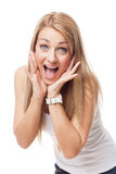 Beautiful girl with expression of surprise Stock Images