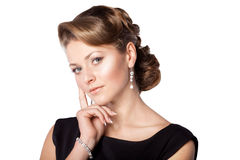 Beautiful girl with an exquisite hairdo stock image