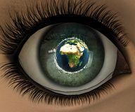 Beautiful girl eye in 3D. With earth in eyeball Royalty Free Stock Photo