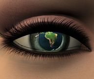 Beautiful girl eye in 3D. With earth in eyeball Stock Images