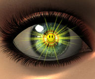Beautiful girl eye in 3D with smiley. Face in eyeball Stock Photos