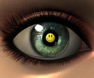 Beautiful girl eye in 3D with smiley face in eyeba Stock Photo