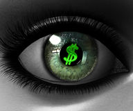 Beautiful girl eye in 3D with us. Dollar sign Royalty Free Stock Images