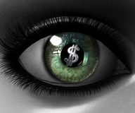 Beautiful girl eye in 3D with us dollar Stock Images