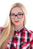 Beautiful girl in eyeglasses isolated on white Royalty Free Stock Photography