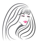 Beautiful girl face logo vector stock illustration