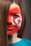 Beautiful girl with face art on face Royalty Free Stock Photo
