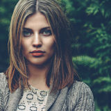 Beautiful girl face - close up portrait stock photography