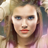 Beautiful girl face close up portrait. Stock Images