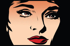 Beautiful girl face in the dark noir. Pop art retro style. The light and shadow. womans face vector illustration retro Royalty Free Stock Images