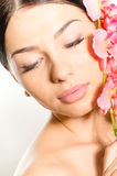 Beautiful girl face with eyes closed & pink flowers, perfect skin and lips on white Royalty Free Stock Photography
