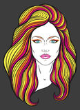 Beautiful girl face with long hair and neutral expression. Hand drawn woman portrait stylized in lines. Decorative Stock Image