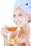 Beautiful  girl with a face mask Stock Image