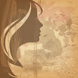 Beautiful girl face on old background Stock Photos
