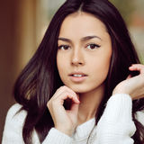Beautiful girl face - outdoor. Close up stock photos