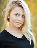 Beautiful girl face - outdoor portrait Stock Photos