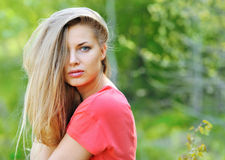 Beautiful girl face with perfect hair close up Royalty Free Stock Photo