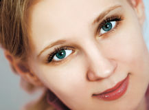 Beautiful Girl face. Perfect skin concept. Beautiful Girl face. Health and youth blond blue Royalty Free Stock Photography