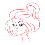 Beautiful girl face. pink outline. character Stock Photos