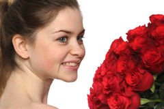Beautiful girl face with set of roses Royalty Free Stock Images