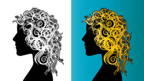 Beautiful girl face silhouette with curly hair Art Nouveau style Stock Images