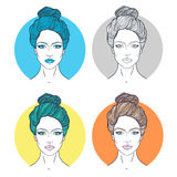 Beautiful girl face with top knot hair style, make up and neutral expression. Hand drawn woman portrait stylized  Stock Photo