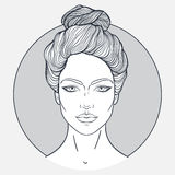 Beautiful girl face with top knot hair style, make up and neutral expression. Hand drawn woman portrait stylized  Royalty Free Stock Image