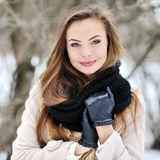 Beautiful girl face in winter Royalty Free Stock Images