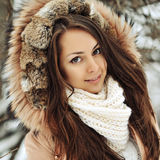 Beautiful girl face in winter - close up Stock Photos