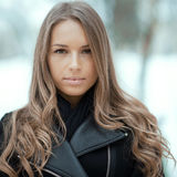 Beautiful girl face in winter Royalty Free Stock Photo