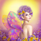 Beautiful girl fairy  butterfly at   pink and purple flower background Stock Image