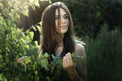 Beautiful girl in fairy forest Royalty Free Stock Photo